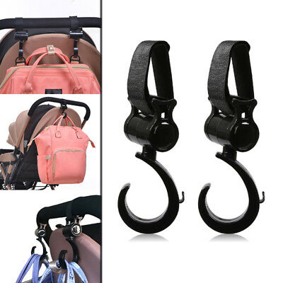 2pcs Stroller Hooks Baby Pram Hanger Bag Holder Nylon Accessories Clips Black