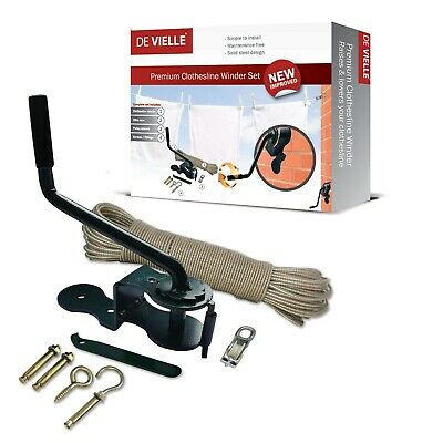 De Vielle Clothesline Winder 30m Steel Rope Lower Raise Pulley Washing Line