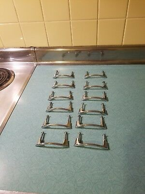12 Vintage Mid Century CHROME Drawer Pulls Cabinet Door Handles Smooth Retro