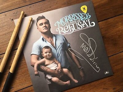 Morrissey Autographed Years Of Refusal Lp, with band guitar pick and drum sticks