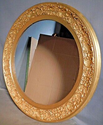 Vintage Antique Florentine Ornate Gilt Gesso Wood ROUND Picture Frame Mirror OLD
