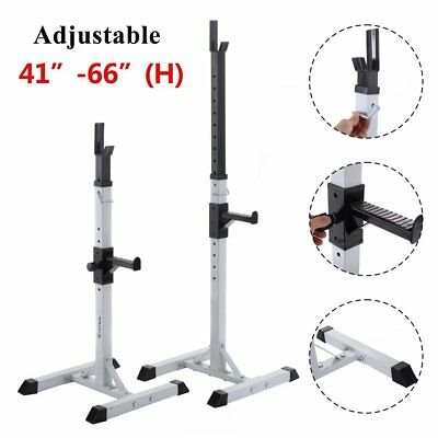 "2X Adjustable Gym dumbbell Squat Barbell Stand Rack Press Weight Bench 41""To 66"""