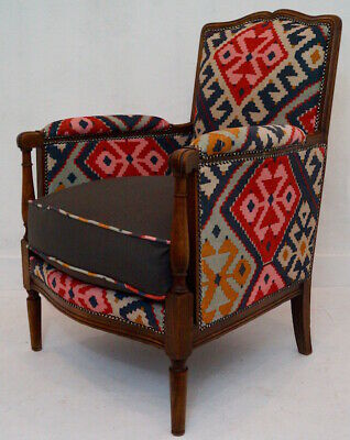 Antique French Upholstered Armchair in Linwood Omega Prints Fabric