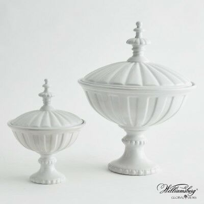 NeoClassical Modern White Decorative Jar Set 2 Fluted Urn Lid Palladian Venetian
