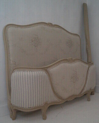 Vintage French Double Demi Corbeille Bed Frame in French inspired linens