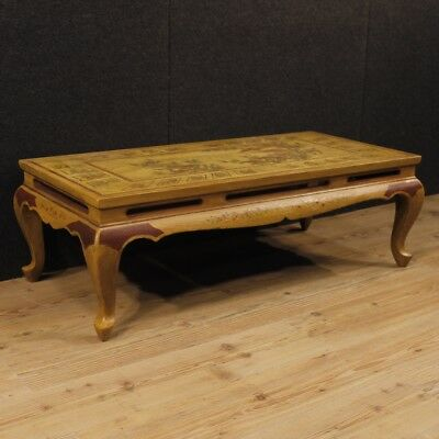 Coffee table furniture living room antique style wood lacquered chinoiserie