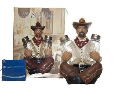 Old West Cowboy Resin Salt & Pepper Shaker Holder Figurine - Dwk 2012
