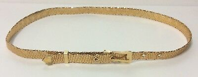 "Vintage Whiting and Davis Gold Tone Mesh Belt  Size 30"" to 35""  FREE SHIPPING !"