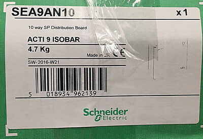 Schneider Electric Single Phase Distribution Board, 10 Way, 125 A   SEA9AN10