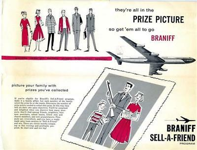 Braniff International Airways Sell A Friend Program Brochure 1960's