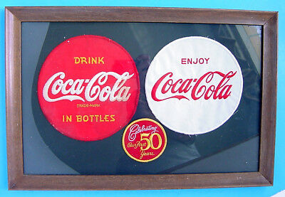 1950s DRINK COCA-COLA DELIVERY DRIVER UNIFORM & OUR 1ST 50 YEARS FRAMED PATCHES