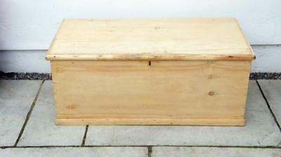Late Victorian  pine blanket box or chest, rustic, 3 sided, re-furbished