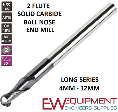 SOLID CARBIDE BALL NOSE 2 FLUTE END MILL 4MM -12MM TiALN COATED LONG SERIES