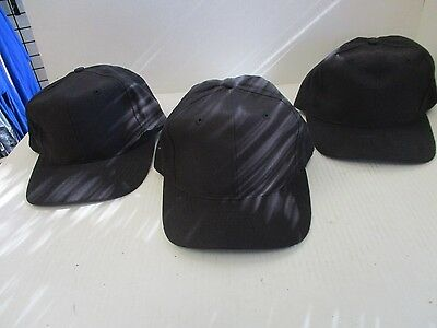 LOT OF 3-NEW VINTAGE ALL BLACK caps/hats-6 PANEL-Buckle/Leather strap-ATT[A161]