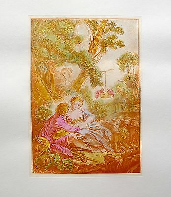 """FRANCOIS BOUCHER Vintage Hand Colored Art Etching """"IN OCTOBER"""""""