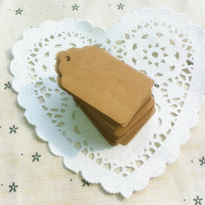 100Pcs BLANK Brown Kraft Paper Hang Tags with String Punch Label Price Cards ME