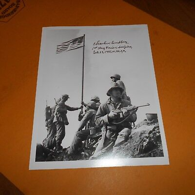 """Charles """"Chuck"""" Lindberg was a United States Marine corporal Hand Signed Photo"""