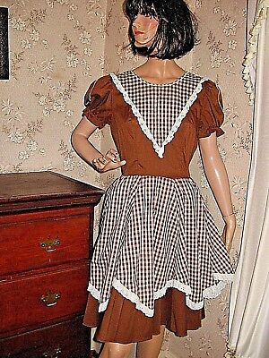 Vtg1950 Brown/white Cotton Gingham Square Dance Dress -Maryjane's Originals-14