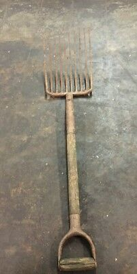 "Vintage Primitive Gardening Tool Antique 42"" Long Metal Pitchfork w/ Wooden Pole"