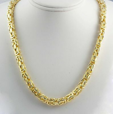 """410 gram 14k Yellow Solid Gold Heavy Men's Byzantine Chain Necklace 30"""" 9.20mm"""