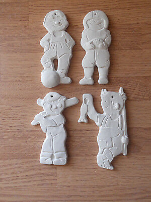 C-0762 (4) Flat One Sided OUTDOOR SPORTS Ornaments Ceramic Bisque U Paint