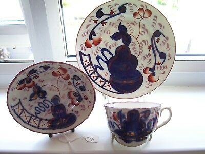 Gaudy Welsh Oyster Pattern Cup & Saucer And Plate