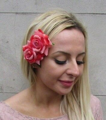 Double Rose Coral Peach Red Flower Hair Clip Fascinator Bridesmaid Floral 6433