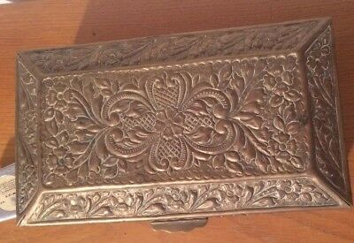 Large Brass Or Bronze Box vintage Victorian antique Carved Box  jewellery box