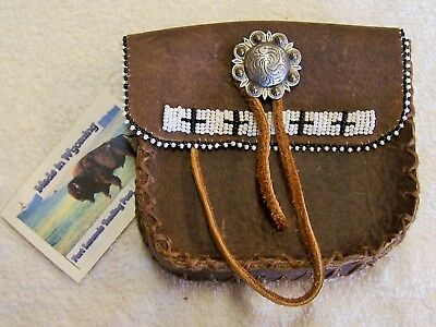 Hand Made  Cow Hide Beaded Belt Bag Rendezvous Black Powder Mountain Man  2