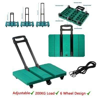 Heavy Duty Industrial Foldable Hand Sack Truck Barrow Cart 6 Wheels Trolley200kg