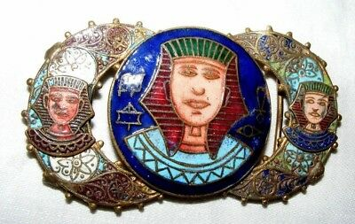 Antique 1920'S Czech Max Neiger Bros Egyptian Revival Pharaoh Belt Buckle Enamel