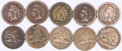Lot of 10 Flying Eagle & Indian Head Copper-Nickel Cent 1C 1857-1864 CN K