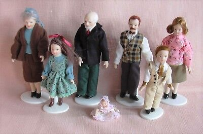 Family of 7 PORCELAIN DOLLS & 6 DOLL STANDS Modern Style 12th