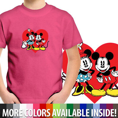 Mickey Minnie Mouse Love Couple Heart Toddler Kids Boys Girl Tee Youth T-Shirt