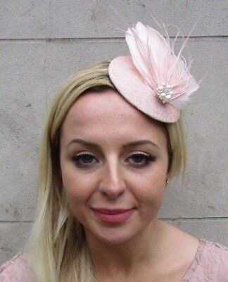 Blush Nude Light Pink Pearl Feather Pillbox Hat Fascinator Races Wedding 6434