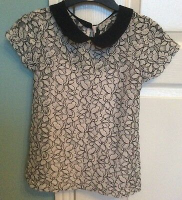 Girls Age 12-13 Black/White Lace Top With Collar Incl Under Vest Top 2 piece VGC