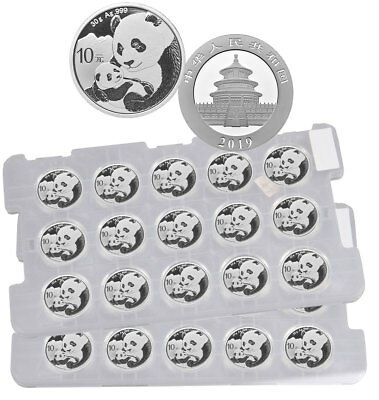 Sheet of 15 - 2019 China 30 g Silver Panda ¥10 Coins GEM BU SKU55882