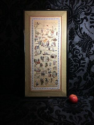 good antique vintage large framed Chinese hand made silk embroidery 100 children