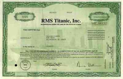 Titanic RMS Inc. 2001 Florida Bergungsgesellschaft Top Luxus Liner 1 Share
