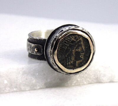 brutalist style authentic ancient Greek Apollo coin unisex silver & gold ring