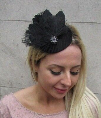 Black Feather Pillbox Hat Fascinator Races Wedding Cocktail Funeral Hair 6444