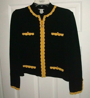 St. John Collection Small Black Knit Jacket Zip Front ~ Yellow Trim