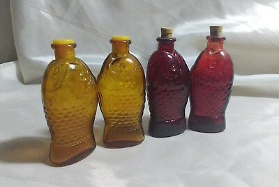 "Lot of 4 Miniature Fisch's Bitters Glass Bottles 3"" Red & Yellow"