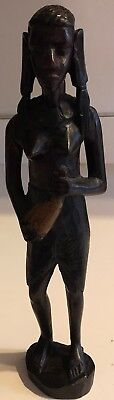 """2 African Statues  Carved Ebony? 1 MAN 9 1/2"""" , 1 WOMAN 11 1/2"""" Nice"""