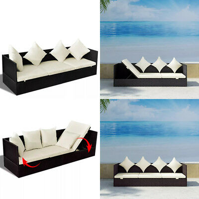 Outdoor Sofa Furniture Rattan Garden Patio Sun Bed Lounger with Cushion & Pillow