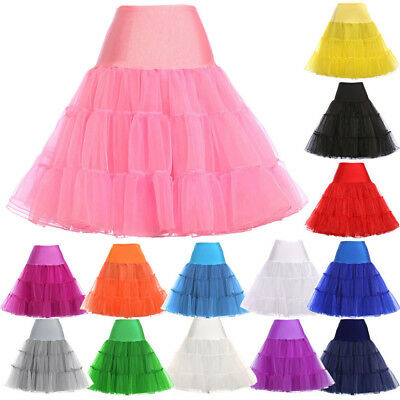 Woman 50s Tutu Petticoat Net Bridesmaid Crinoline Rockabilly Underskirt Skirt