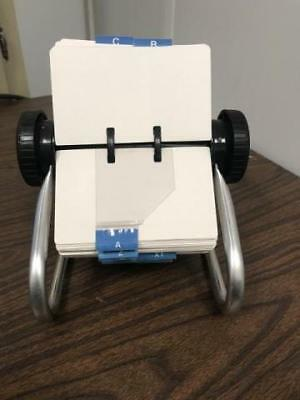 Vintage Metal Rolodex 5350 X Rotary Card File w/cards