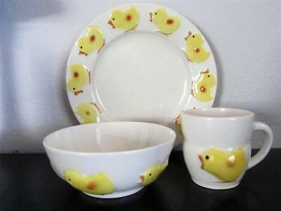 Vintage Goebel Little Chicks Children's Dish Set 3 Pieces