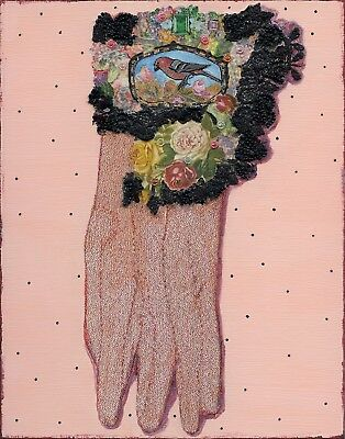 Lady's Glove Victorian Style Collage & Mixed Media Art On Wood Affordable Art