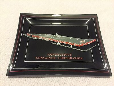 Vintage Connecticut Container Corporation Glass Advertising Tray Plate Packaging